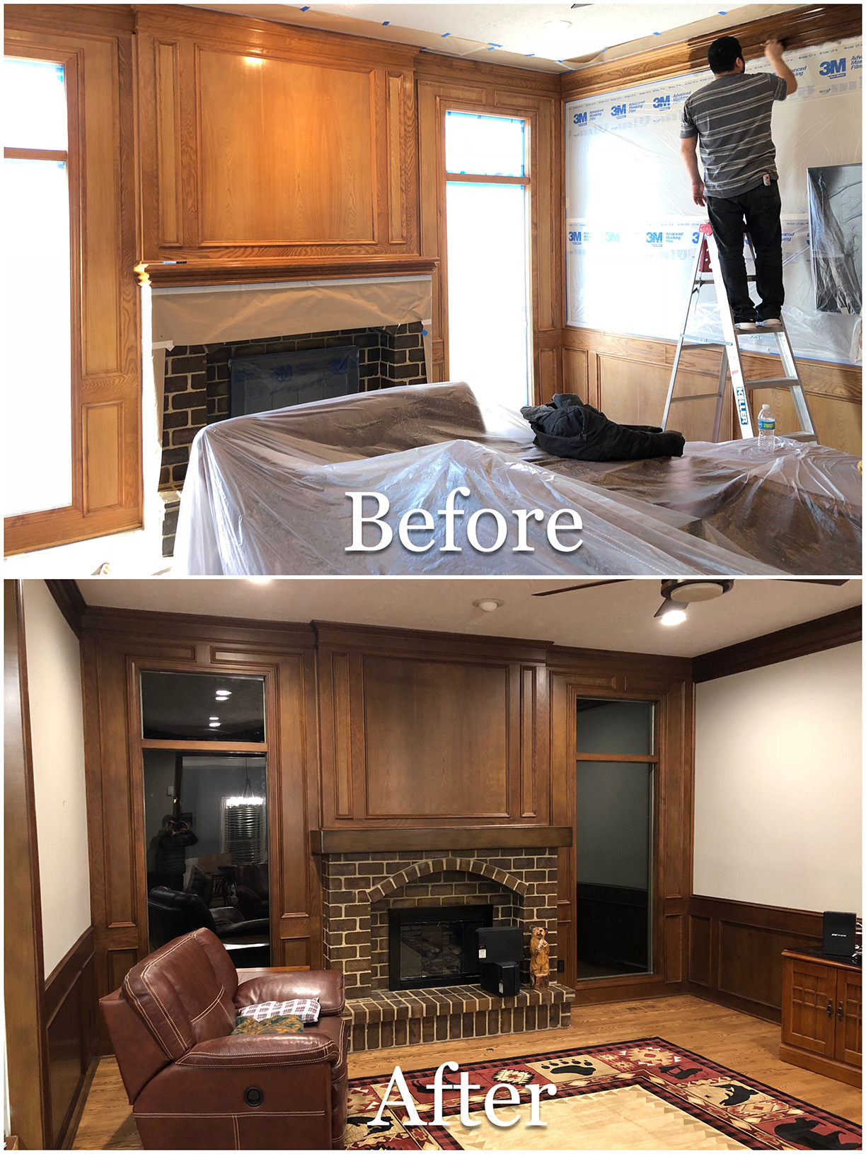 Fireplace restaining